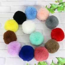 все цены на DIY Women Bag Keychain 8CM Natural Rabbit Fur Ball Lovely Key Chain Key Ring Cute Fluffy Pompom онлайн