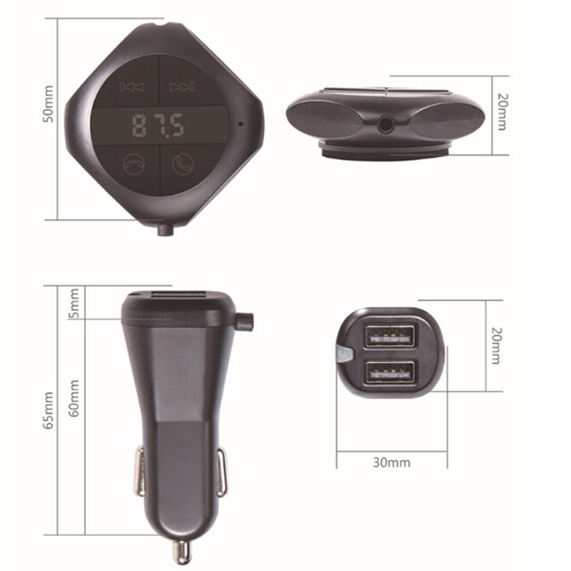 Q7s Car Mounted Handsfree FM Transmitter Vehicle Bluetooth MP3 Music Player Dual - Black