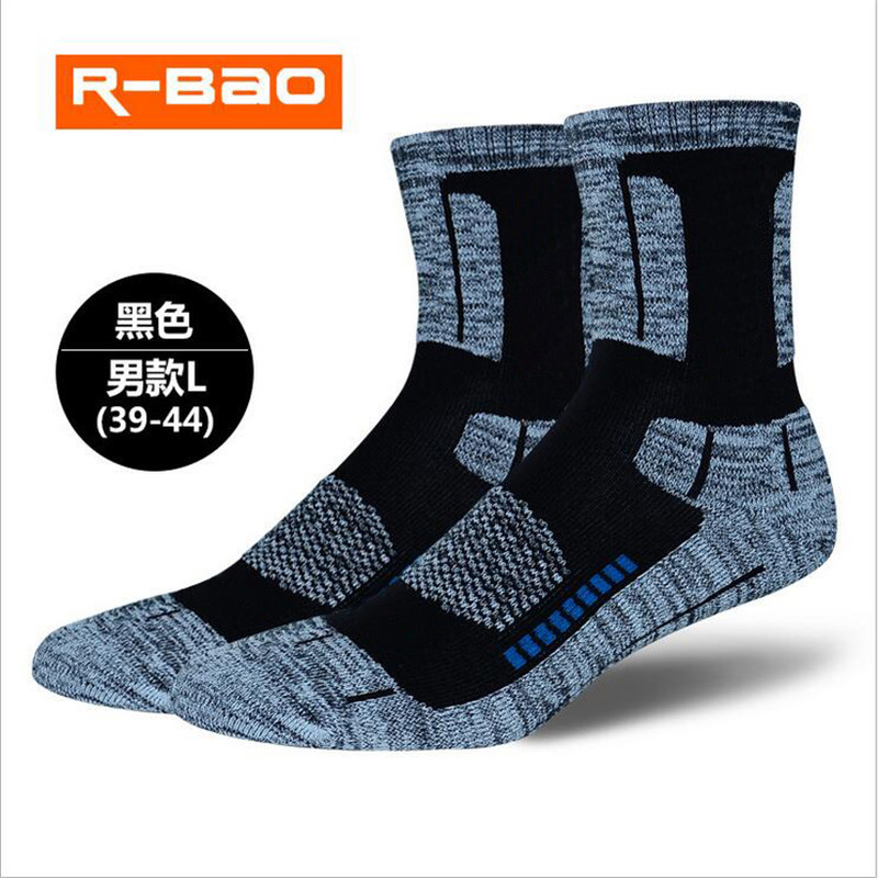 R BAO Autumn Winter Outdoor Hiking Skiing socks Men Women High quality Terry Running Sports Socks Deodorization Warm For 1pairs in Skiing Socks from Sports Entertainment
