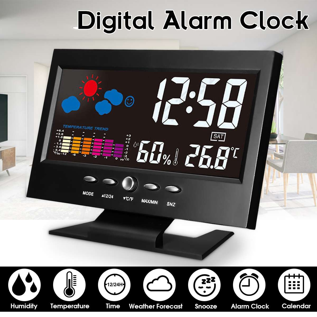 LCD Color Screen Weather Station Car Thermometer Instruments Indoor Temperature Humidity Calendar wiith UBS Cable Alarm Clock
