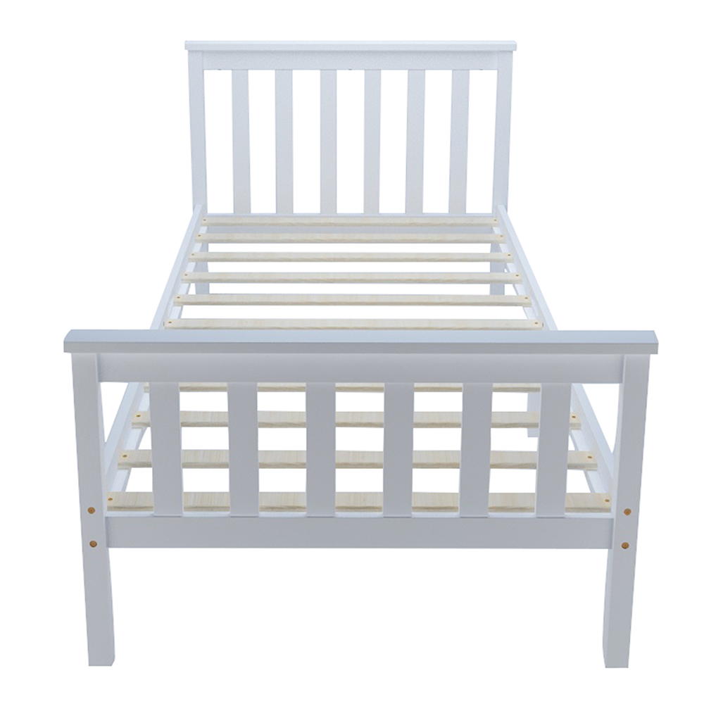Panana Bedroom 3ft Single Bed In White Wooden Frame White Strong Basic Kid/ Adult Sleeping Bed Children Bed Fast Delivery