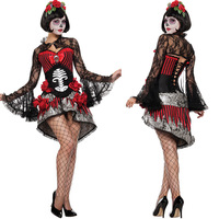 Adult Women Day Of The Dead Halloween Purim Skeleton Costumes Skull Monster Demon Ghost Scary Fantasia Fancy Dress