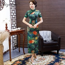 2019 New Lace Edge Printing Cheongsam Women Chinese Tradition Dress Qipao Dark Green Oriental Style Vintage Qi Pao Long Dresses цена