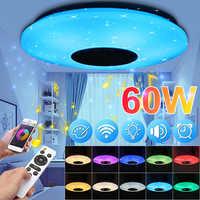 AC180-240V música moderna lâmpada do teto pode ser escurecido app/controle remoto 60 w sala de estar quarto bluetooth alto-falante luminária conjunto