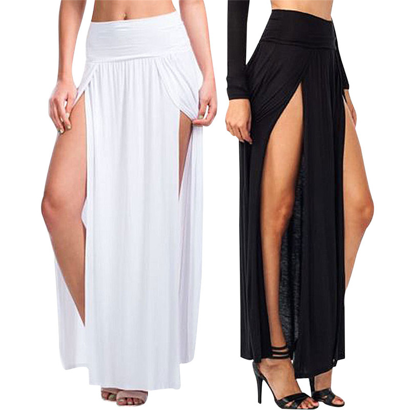 NEW  Sexy Women Long Pleated Open Slit High Waist Solid Color Skirt Women's Skirt