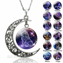 12 Zodiac Constellations Signs Glass Dome Crescent Moon Necklace Fashion Jewelry for Women Aries Gemini Cancer Leo Birthday Gift 12 zodiac signs glass cabochon crescent moon necklace zodiac jewelry women friendship birthday valentines gift