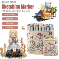 Touch Mark 30/40/60/80/168 Colors Art Markers Set Dual Headed Sketch Marker Brush Pen For Painting Manga Student Interior Design