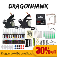 Professional Tattoo Kit 2 Guns Machines 20 Ink Sets Power Supply D175GD 8