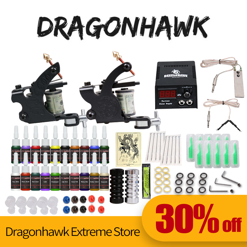Professional Tattoo Kit 2 Guns Machines 20 Ink жиынтығы D175GD-8 қорек көзі