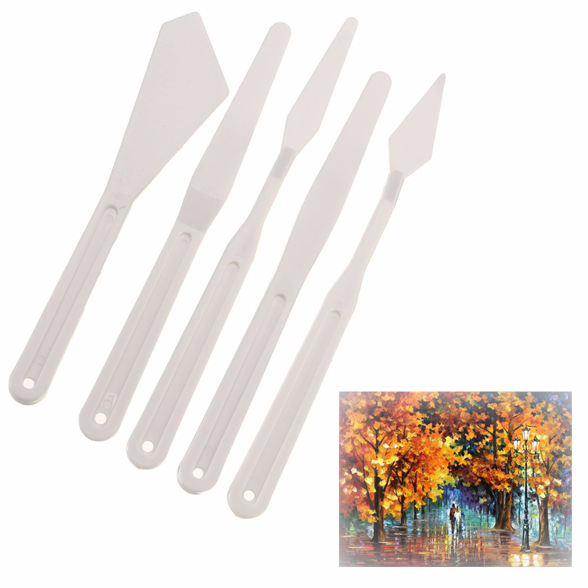 5pcs/set Excellent Quality Plastic Palette Knife Painting Mixing Tools For Watercolors Carving Oil Painting White Artist Supply
