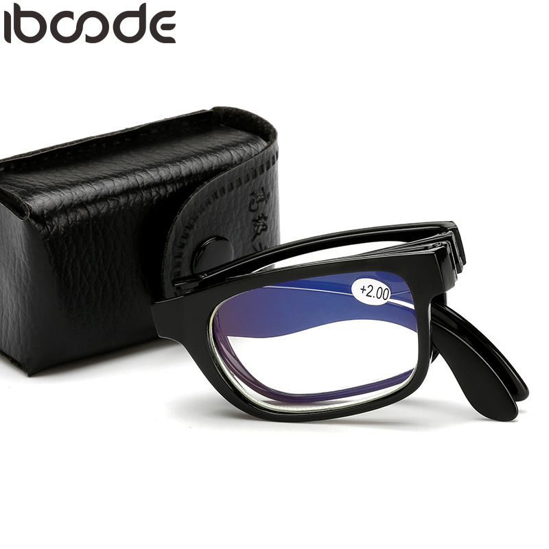 Iboode Folding Reading Glasses Men Women Blue Film Unisex Eyeglass With Case Cloth Presbyopia +1.0 +1.5 +2.0 +2.5 +3.0 +3.5 +4.0