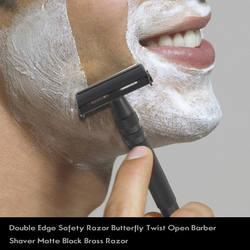 Двухсторонняя Безопасная бритва с длинной ручкой, открытая Бритва для парикмахера, матовая черная латунная бритва, Мужская бритвенная