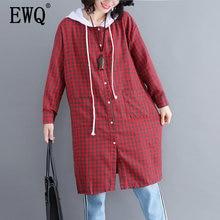50af262dd  EWQ  Nova Primavera 2019 Mulheres Com Capuz Collar Manga Comprida Big Size  Patchwork Hem Solta Camisa Xadrez Feminino Casual bl.