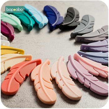 Bopoobo 10pc Silicone Feather Beads Baby Teethers BPA Free Chewable Necklace Pendant Food Grade Teething Nursing Gift