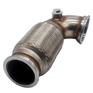 """Image 5 - Tubo de bajada de 3 """"en V de acero inoxidable, perfil bajo, 90 grados con fuelle flexible con brida de salida"""