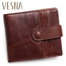 Vesna Men Wallets Genuine Leather Wallet For Credit Card Holder Zip Small Wallet Man Leather Wallet Short Slim Card Case стоимость
