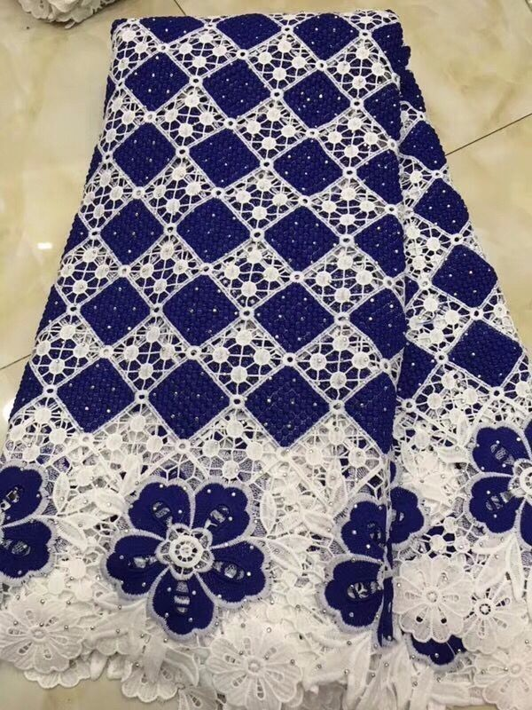 royal blue African Lace Fabric2019 High Quality Lace Heavy African Guipure Cord Lace Fabric With Stones