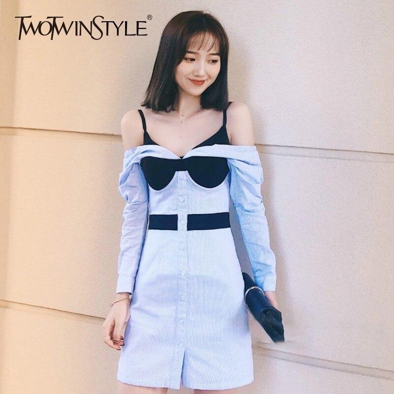 TWOTWINSTYLE Patchwork Dress Female Off Shoulder Slash Neck Long Sleeve High Waist Womens Dresses 2019 Spring