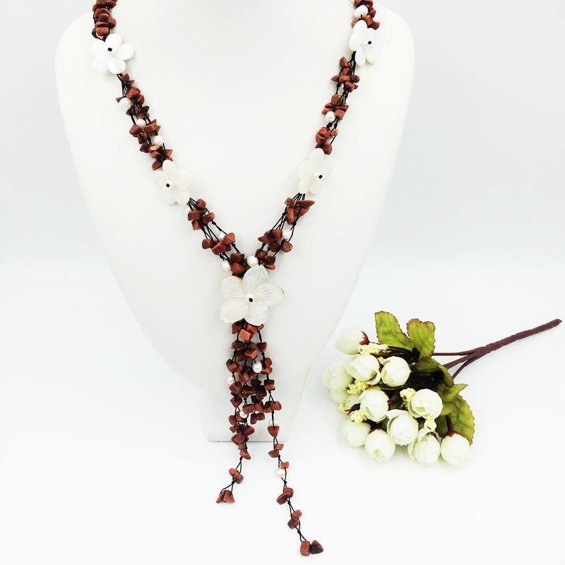 Pierre naturelle or sable pierre, fleurs de coquillage, perle d'eau douce avec Jade fermoir à bascule collier environ 60cm mode femmes bijoux