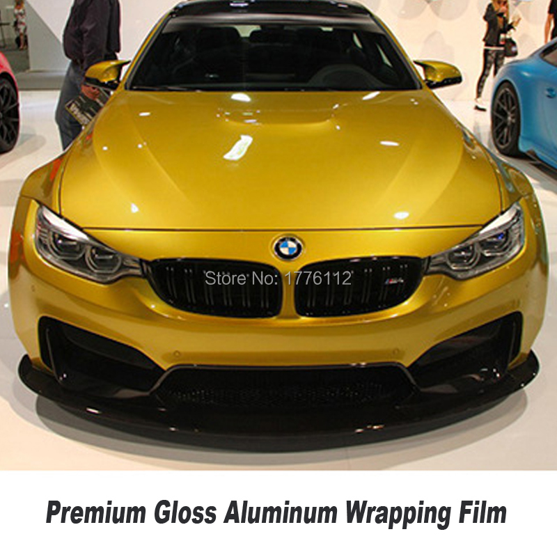 High-end Upgrade Gloss Amber Gold Wrapping Film Metallic Pearl Wrapping Film Aluminum Solvent Based Low Initial Tack Adhesive