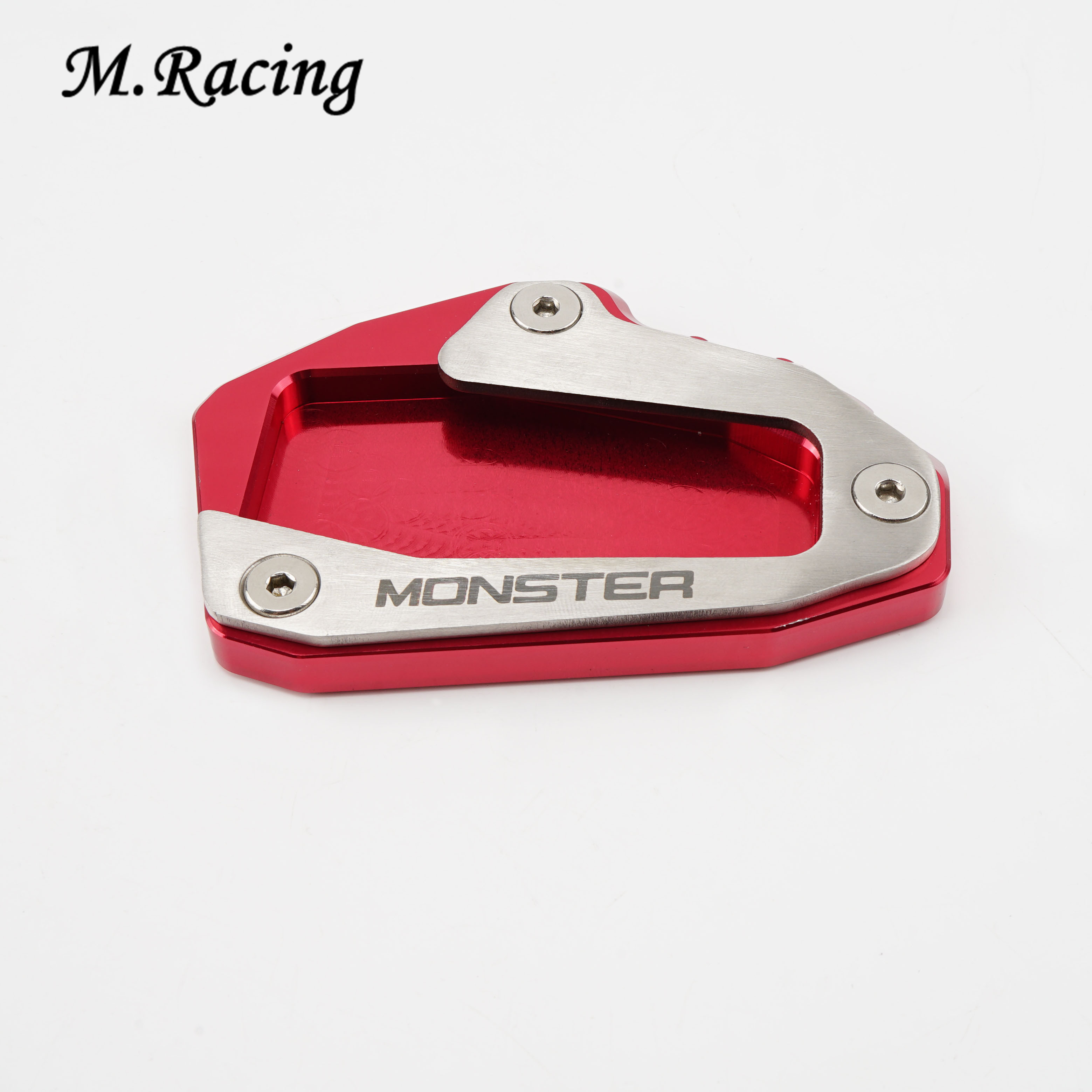 Red kickstand plate pad For Universal Ducati