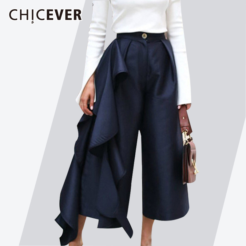CHICEVER 2019 Ruffle Trousers for Women High Waist   Wide     Leg     Pants   Female Casual Palazzo Bottoms Large Size Clothes Korean Autumn