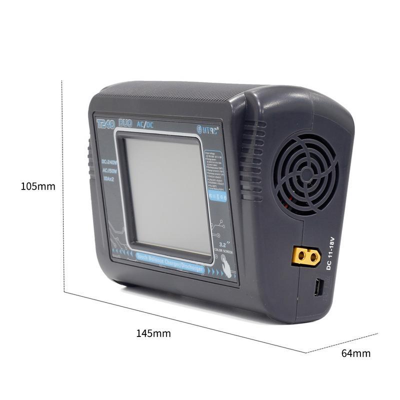 Nouveau chargeur RC Lipo HTRC T240 DUO AC 150 W/DC 240 W écran tactile double Balance chargeur pour LiPo LiHV Lilon NiCd NiMh Pb batterie - 2