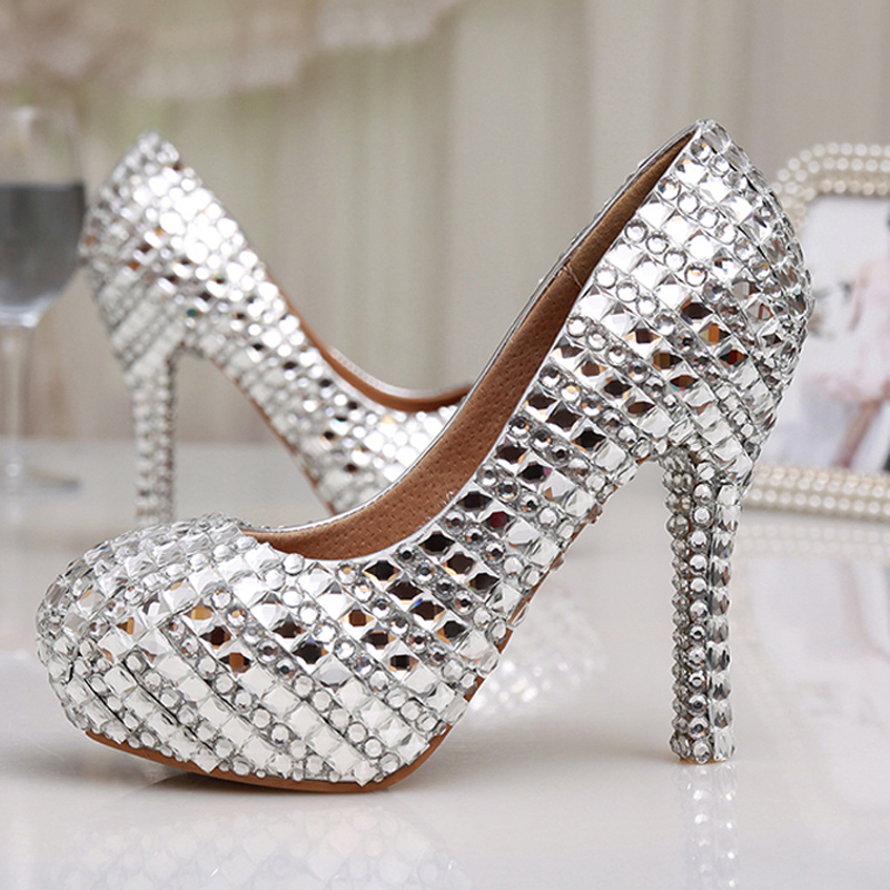 Womens High Heel Glitter Crystal Platforms Wedding Shoes Diamond Jeweled Silver Bridal Shoes 12cm Cinderella Prom Evening PumpsWomens High Heel Glitter Crystal Platforms Wedding Shoes Diamond Jeweled Silver Bridal Shoes 12cm Cinderella Prom Evening Pumps