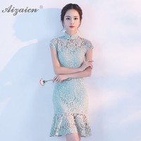 Summer New Green Cheongsam Fashion Short Lace Qi Pao Women Chinese Dress Qipao Sexy Oriental Style Dresses Mini Mermaid Dressing