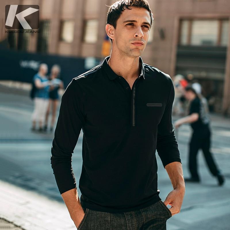 KUEGOU 2019 Autumn Cotton Patchwork Black   Polo   Shirt Men Fashions Long Sleeve Slim Fit Poloshirt Male Clothes Brands Top New 379