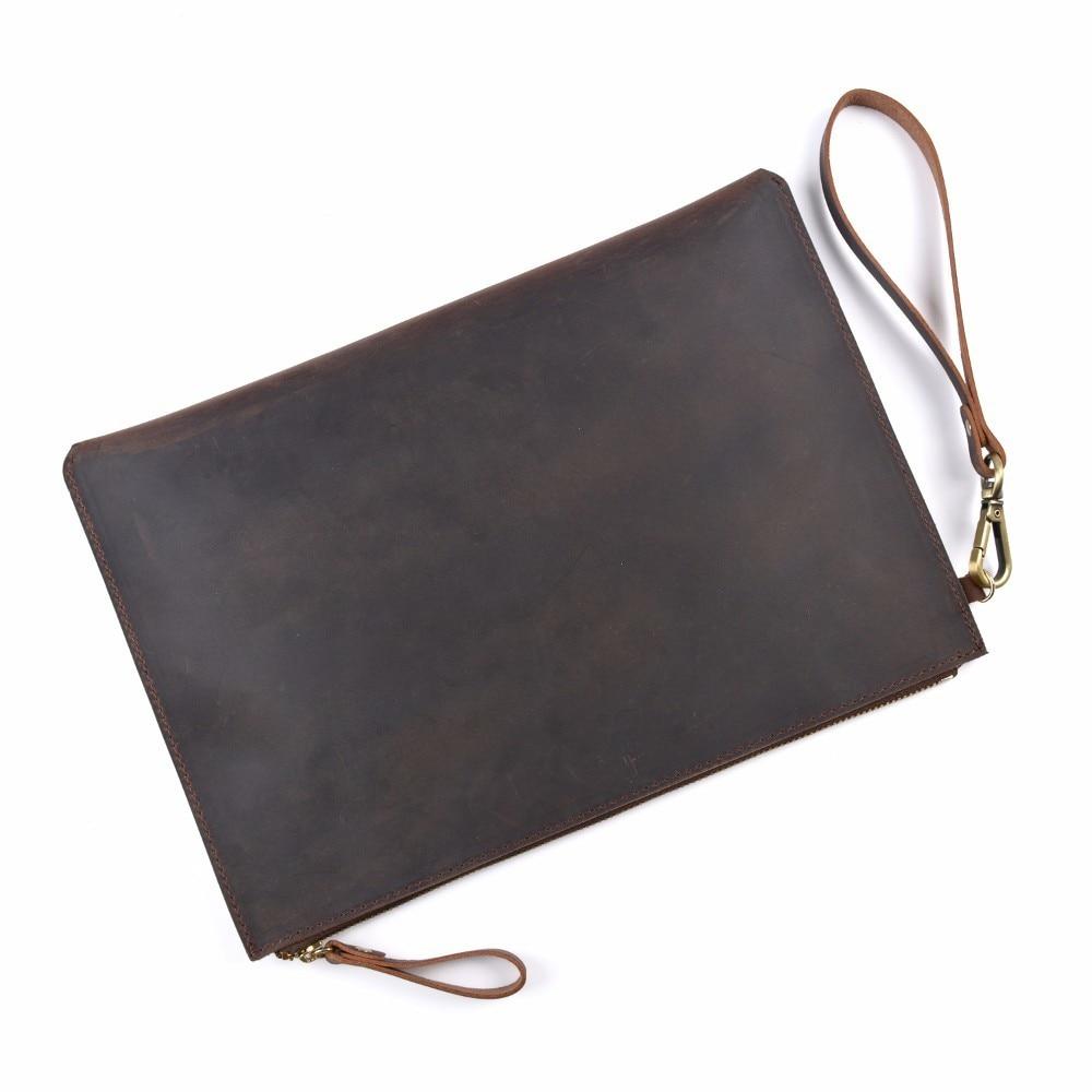 100% Genuine Leather Men File Briefcase 28x19.5 Cm Crazy Horse Leather Business Retro Style Document Portfolio Filing Bag