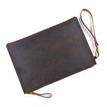Купить с кэшбэком 100% Genuine Leather Men File Briefcase 28x19.5 cm Crazy Horse Leather Business Retro Style Document Portfolio Filing Bag