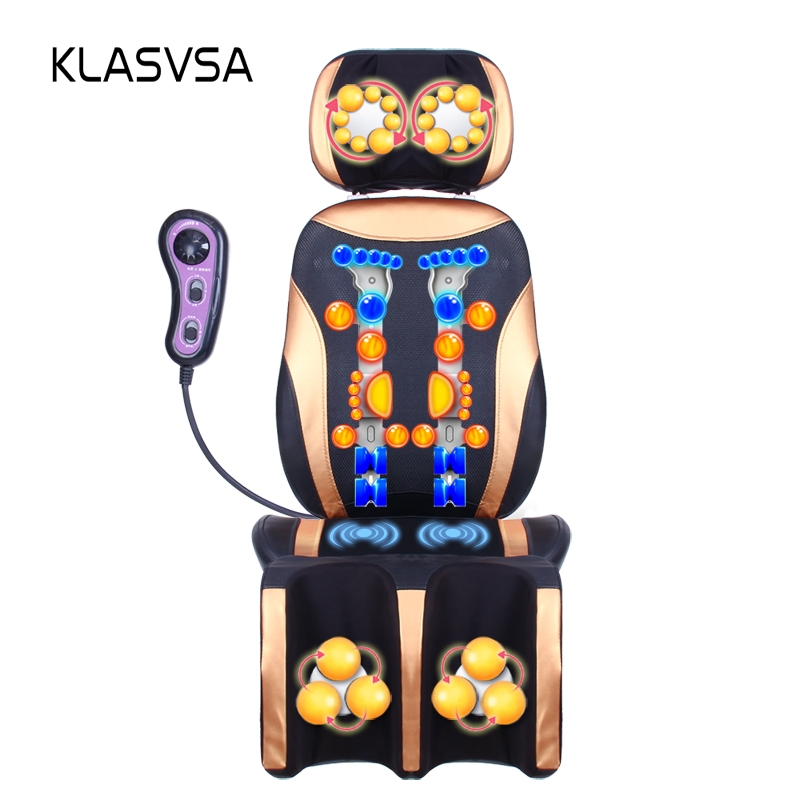 KLASVSA Électrique Chauffage Pétrissage Masseur Vibrateur Président Shiatsu Thérapie Pied Retour Cou Soulagement de La Douleur Soins de Santé Relaxation