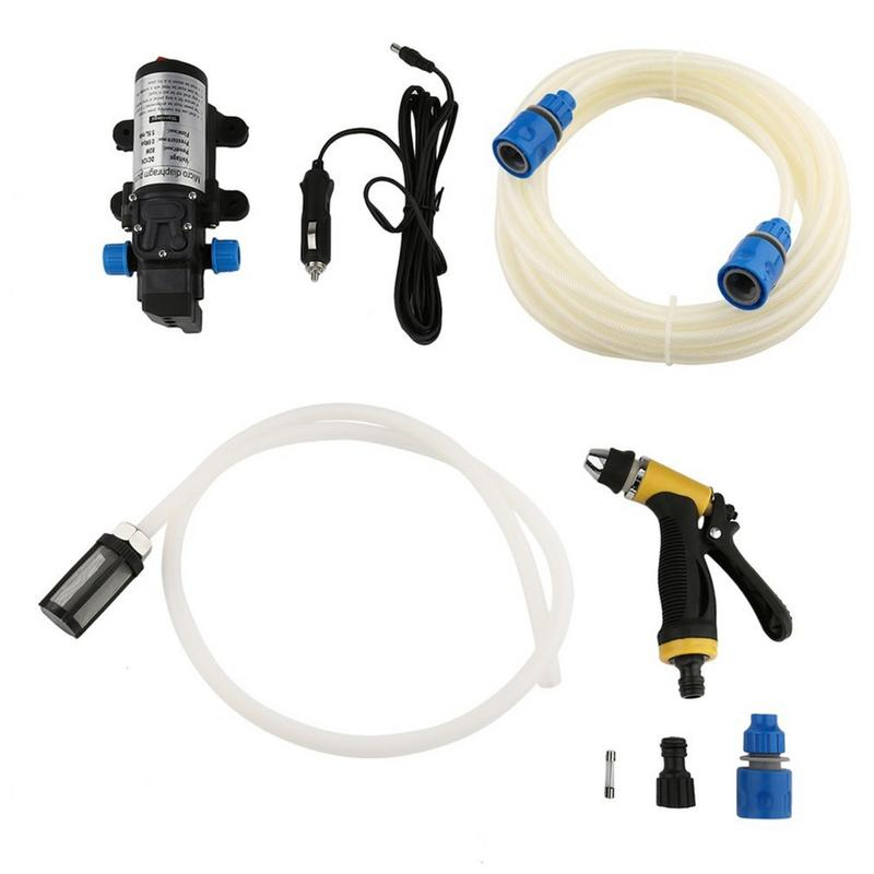 Portable 12V 80W High Pressure Electric Water Pump Spray Watering Gun Wash Kit
