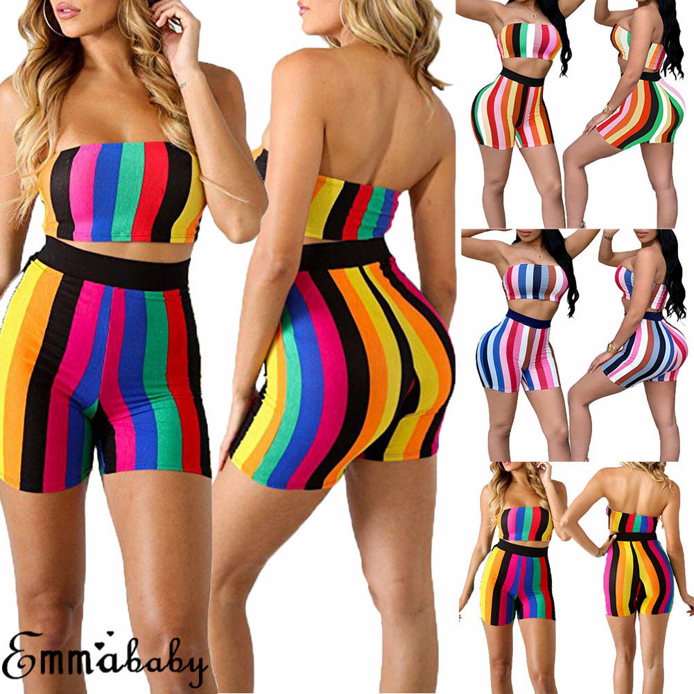 Hirigin 2 Pieces <font><b>Set</b></font> Striped Patchwork <font><b>2018</b></font> Women Push up Swimsuits Two Pieces <font><b>Sexy</b></font> Swimsuit Strapless <font><b>Bikini</b></font> <font><b>Set</b></font> Bathsuit image
