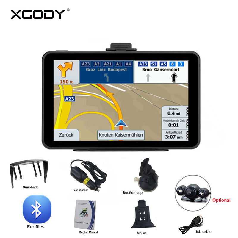 XGODY Android Car GPS Navigation WiFi  7'' Car Truck Navigator 512M 16GB Tablet Navitel North/South American Europe Map