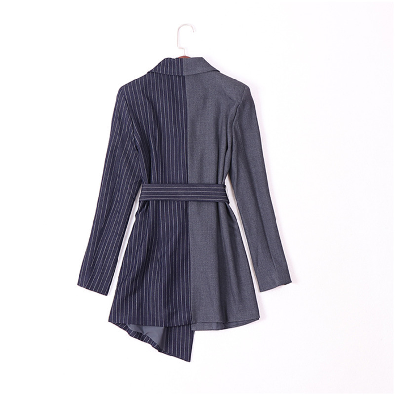 DEAT 2019 Spring New Striped Irregular Belt Long Sleeve Large Size Small Suit Fashion Trend All