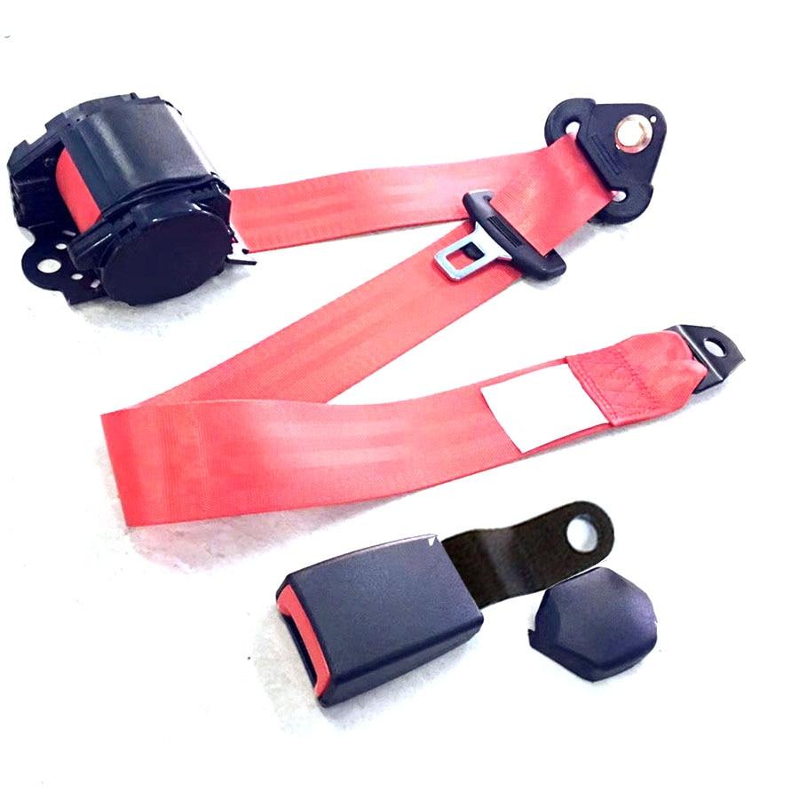 Car 3 Point Retractable Safety Seat Belt Heavy-duty Nylon Straps Adjustable Grey