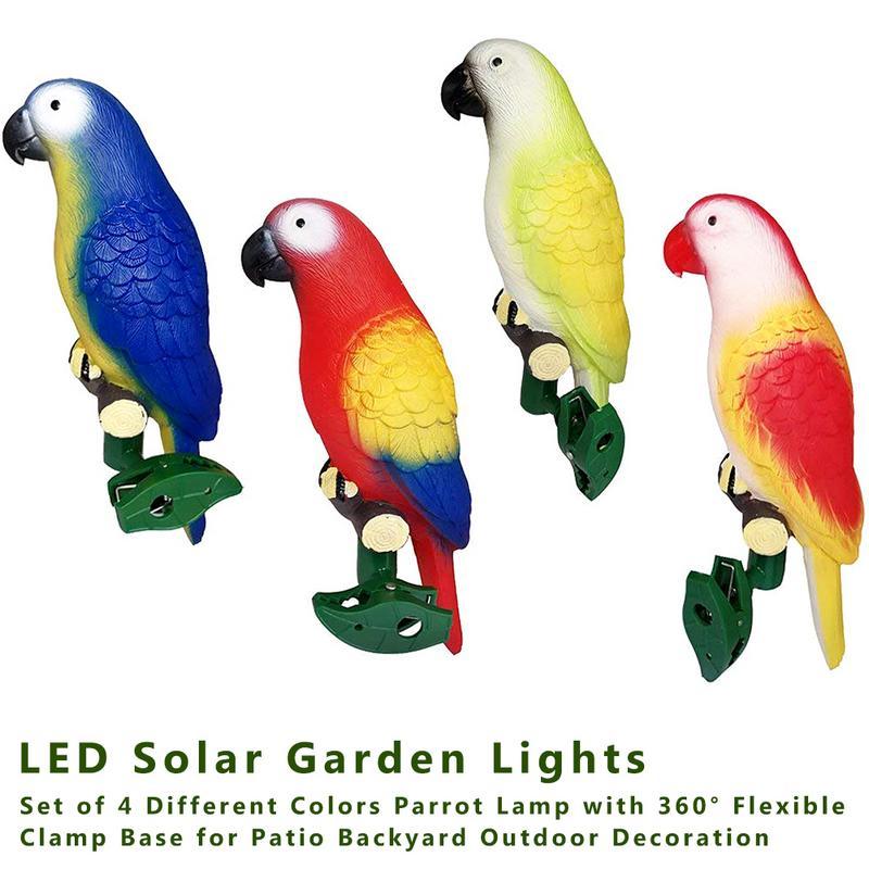 4pcs/set Solar Power LED Light IP44 Rainproof Parrot Lamp With Clip Bird Shape Night Light For Outdoor Garden Path Tree Ornament