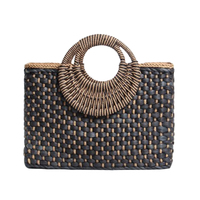 Hand Basket Shopping Bag Black Color Bali Island Hand Woven Bag Straw Bags Satchel Wind Bohemia Beach Bag