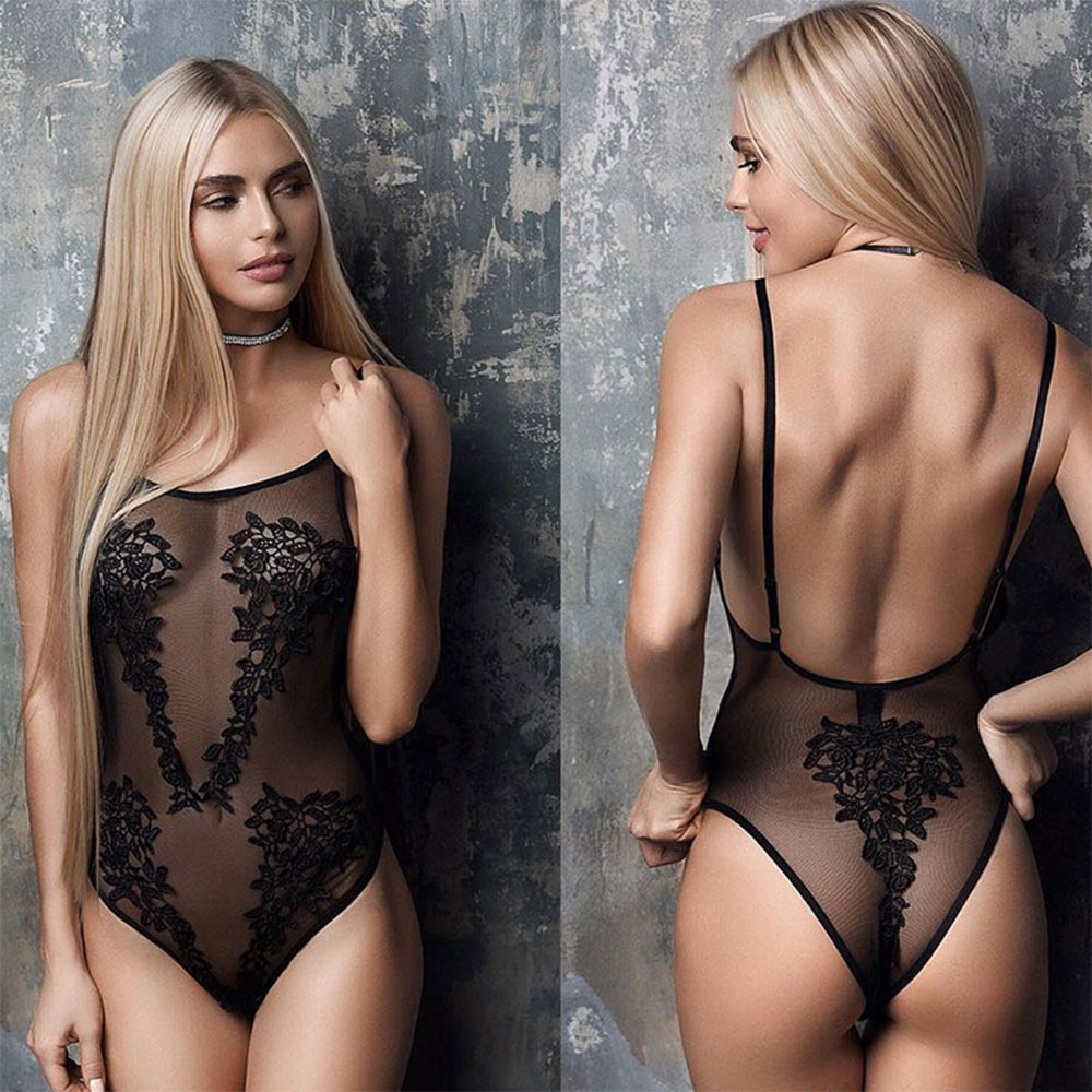 Lace Lingerie Sexy Erotic Teddies Bodysuit Women Spaghetti Strap Lace Underwear Nightwear Sex Costume Porno Clothes Plus Size 1