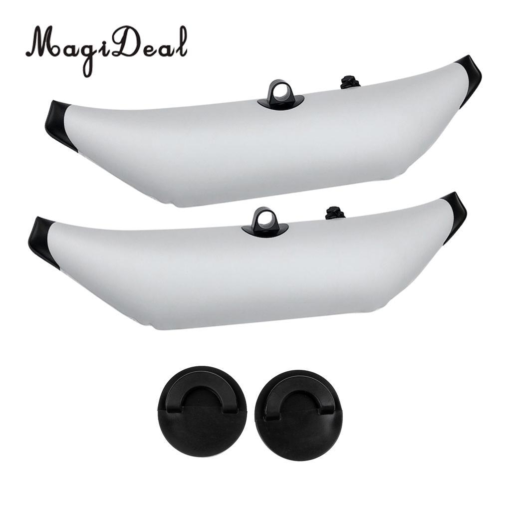 2Pcs Marine Kayak Fishing Beginners White PVC Inflatable Outrigger Stabilizer & 2Pcs Universal Kayak Scupper Plugs Stopper