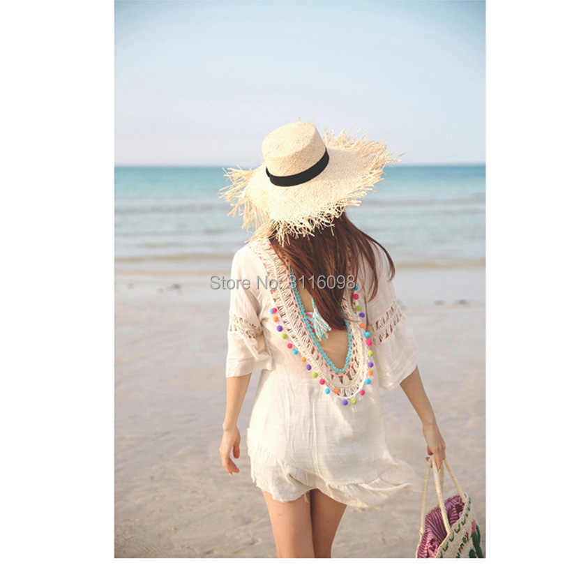 2019 Sexy Crochet Beach Cover Up Open Back Summer Beach Dress Cotton Ruffle Ball Swimwear Cover Up Solid Robe De Plage