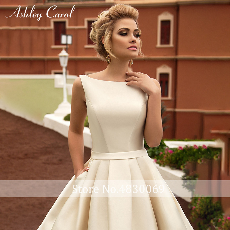 Image 3 - Ashley Carol Sexy Backless Bow Soft Satin Princess Wedding Dress 2019 New Elegant Scoop Sleeveless Simple Vintage Wedding Gowns-in Wedding Dresses from Weddings & Events