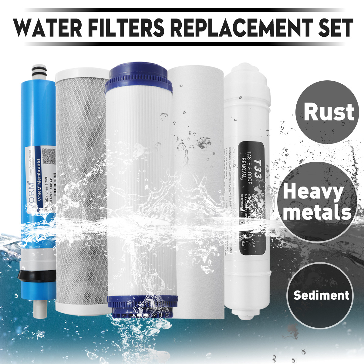 75/100/125 GPD RO membrane 5 stage water filter purifier treatment reverse osmosis system Water Filters Replacement Set75/100/125 GPD RO membrane 5 stage water filter purifier treatment reverse osmosis system Water Filters Replacement Set