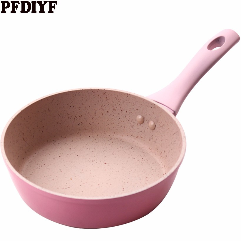 Pink Non-Stick Skillet With Coating Saucepan Thickening Medical Stone Frying Pan Pancake Steak Pan For Gas Induction Cooker