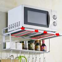 2 Tiers Space Aluminum Wall Mounted Microwave Oven Bracket Kitchen Rack Light Grate Shelf Microwave Oven Racks Storage