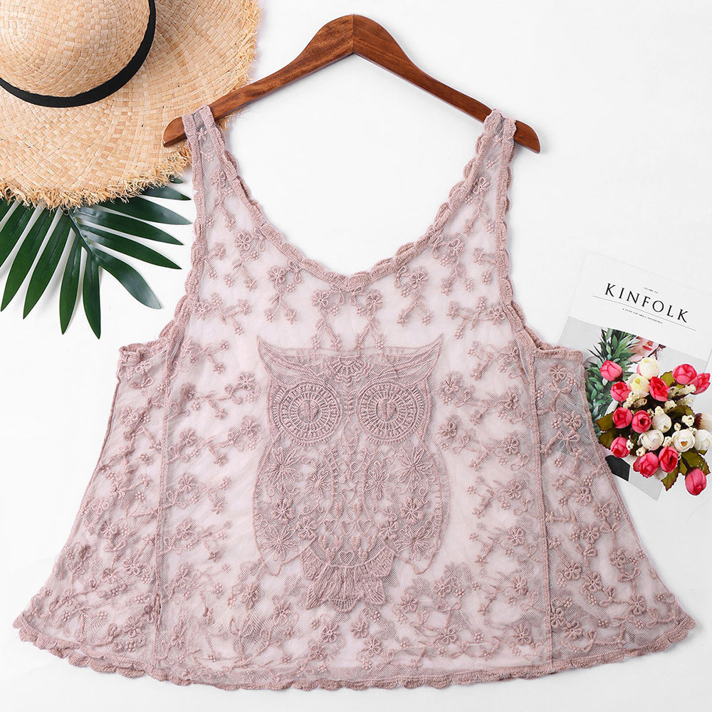 Women's Clothing Owl Embroidery Mesh Women Cover Up Top Round Neck Sleeveless Vest Smock Boho Summer Retro Female Vest Tops Pink Tank Tops