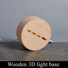 Круглый Деревянный светодиодный светильник с usb-кабелем, современный Ночной светильник, акриловый 3D светодиодный ночник в сборе