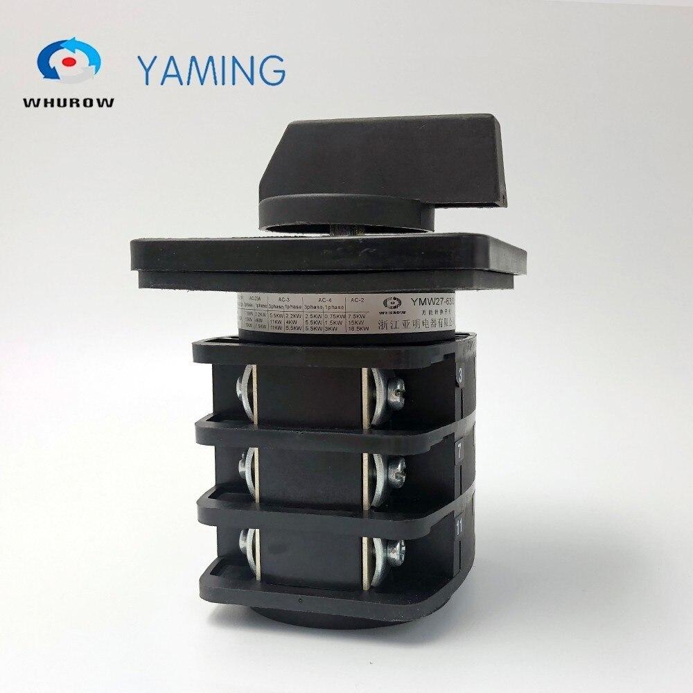 Interrupteur rotatif 3 positions 63A 660 V 3 niveaux interrupteurs à came personnalisés marche-arrêt avec vis YMW27-63/3 - 2